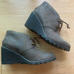 Sperry Leather Wedge Boots NWOT